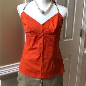 Burberry orange halter top with nova check